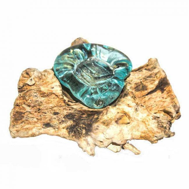 Glas Teelichthalter aus Wurzelholz aufgeschmplzen
