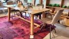 Tisch Eiche Natur mit Sessel Stoff bezogen