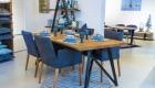 esstisch mit stuehle blau