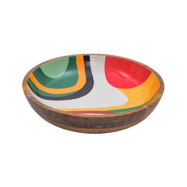 Holzschale Mangoholz Bunt 28 cm Durchmesser