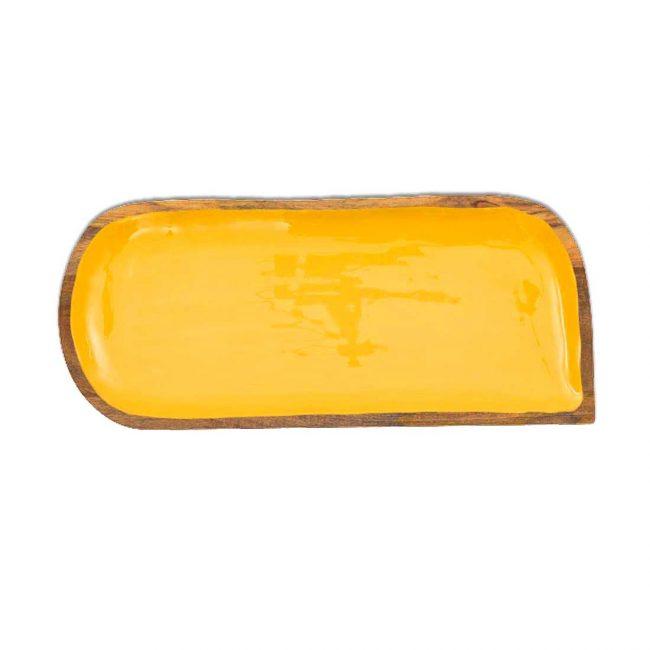 Holztablett Serviertablett Mango-Holz Dekor in Gelb