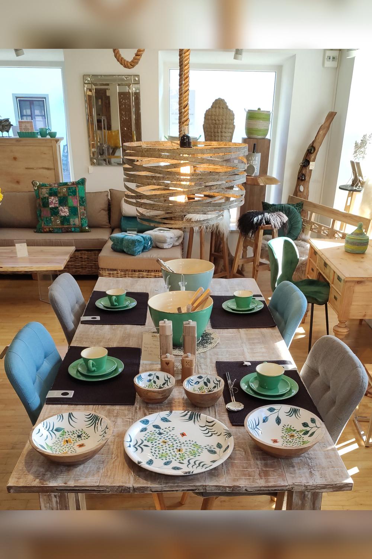 Tischset Hängelampe Stühle Sommergeschirr wohnArt26