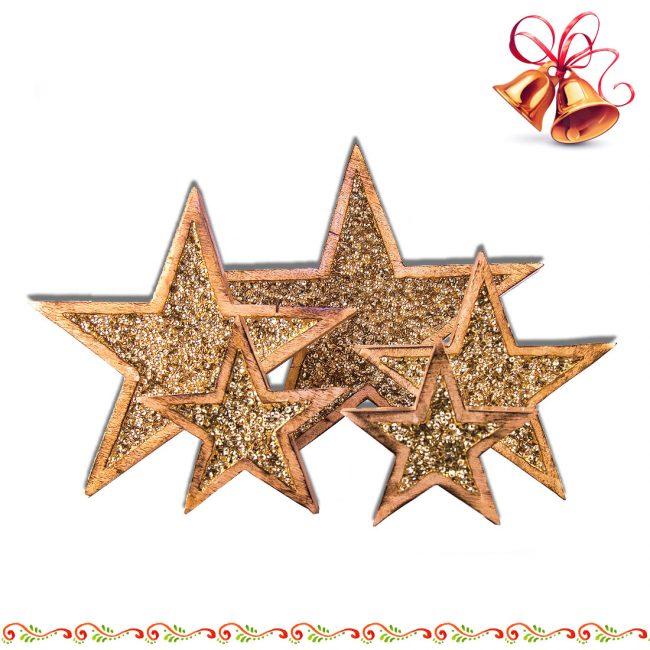 Stern aus Mango-Holz mit Strass Goldfarben zum aufstellen