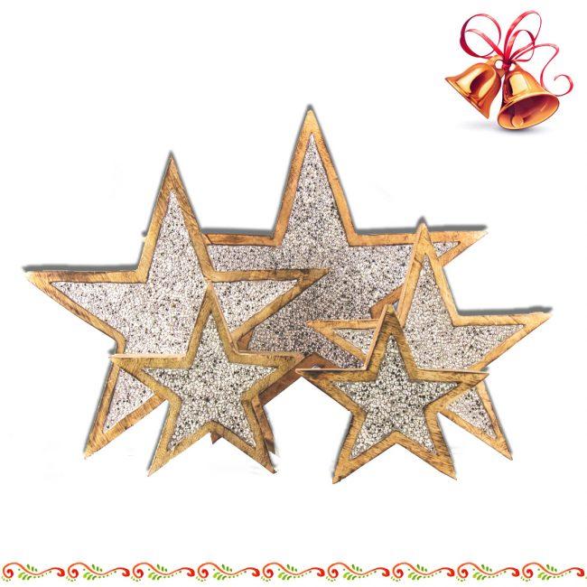 Stern aus Mango-Holz mit Strass Silberfarben zum aufstellen