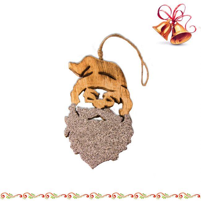 Weihnachtsmann aus Mango-Holz und Strass Silberfarben
