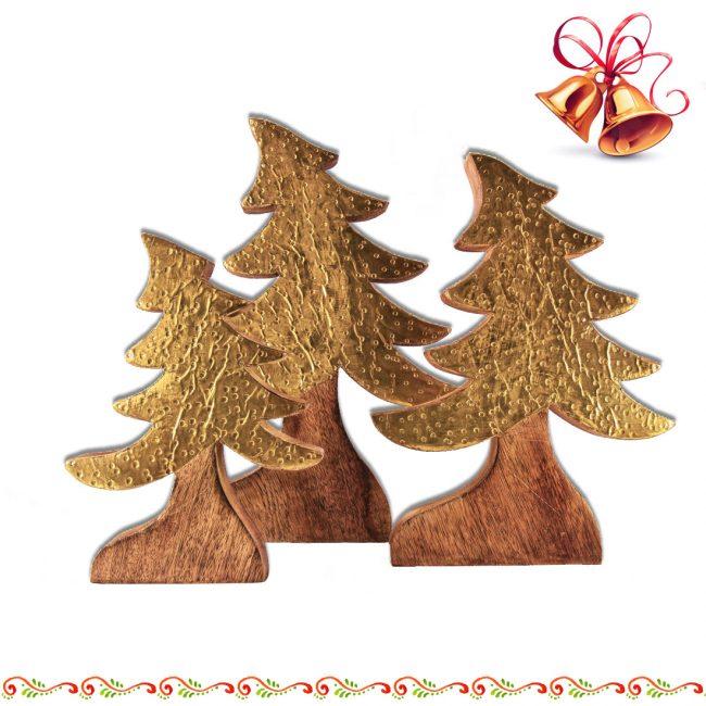 Holztannenbäume aus Mango Holz mit Metall in Goldfarben