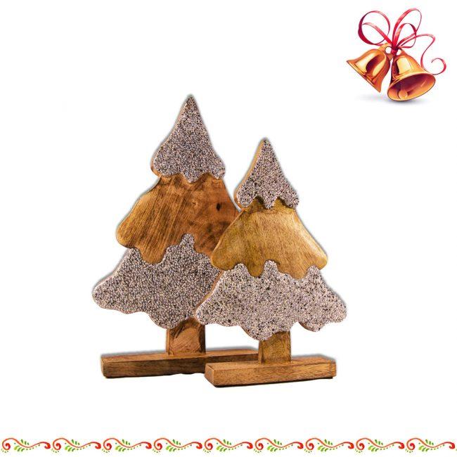 Weihnachtsbaum Tannenbaum aus Mangoholz mit Strass in Silberfarben