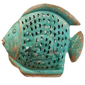 Fisch aus Metall mit Teelichthalter