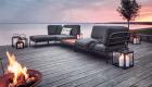 Lounge Kombination aus Sofa, Hocker und Tisch, Polster in grün
