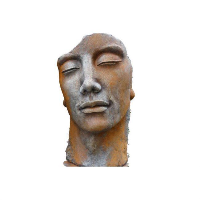 Steinskulptur Mann mit Rosteffekt