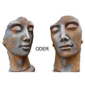 Steinskulptur Mann Frau mit Rosteffekt