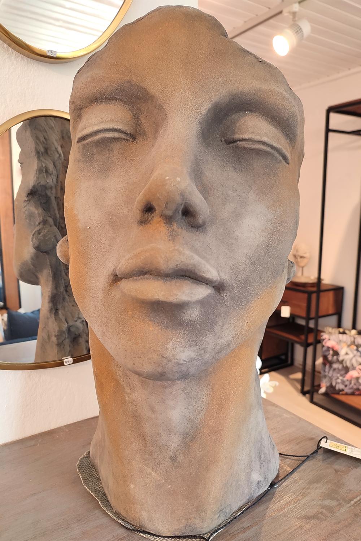 """Steinguss Skulptur Gesichter """"Mann & Frau"""", 50 cm hoch, mit Rosteffekt"""
